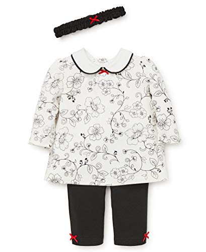 Little Me Baby Girls Tunic Set, Rose Vine Toile Marshmallow/Racing red/Black, 3 Months