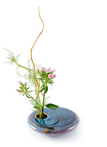 Georgetown Pottery Round Ikebana Flower Vase, Dark Purple Zen