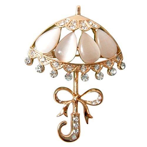 Navachi 18k Gold Plated White Created-Opal Crystal Umbrella Az7931b Brooch pins