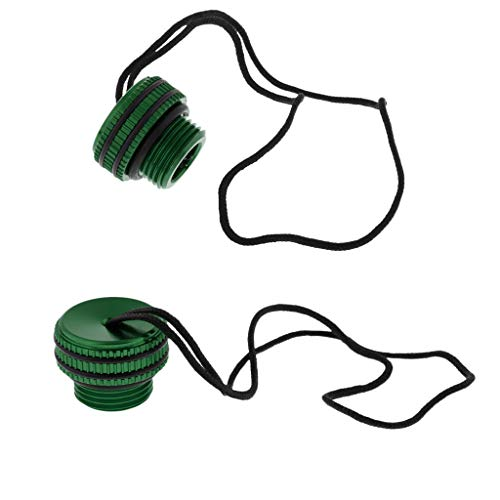 Din Regulator - DYNWAVE 2 Pack Dive DIN Regulator Tank Valve Threaded Dust Plug Protector Cap Replacement with Attachment Lanyard & O-Ring, Scuba Diving Snorkeling - 3 Colors - Green, as described