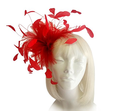 THE RED HAT SOCIETY Shop by Luke Song Coque Feather Fascinator Hairclip - ARFF65 Red (Society Clothing)