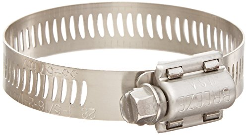 Breeze Power-Seal Stainless Steel Hose Clamp, Worm-Drive, SAE Size 12, 11/16 to 1-1/4 Diameter Range, 1/2 Bandwidth (Pack of 10)