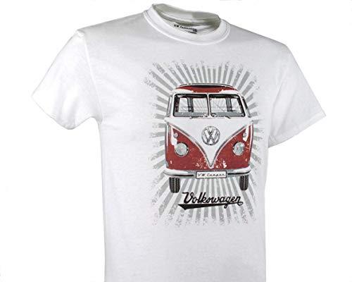 (BRISA VW Collection VW T1 Bus T-Shirt Unisex (S) - Samba Stripes/Red&White)