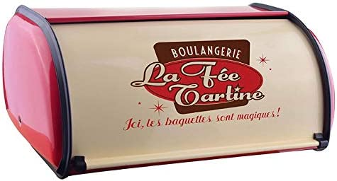SNOWINSPRING French Vintage Bread Box Storage Bin Rollup Top Light Gray Small Powder Coated Bread Iron Snack Boxes for Kitchen Home Decor Red
