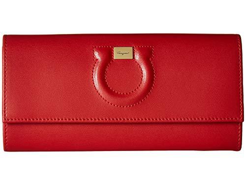 - Salvatore Ferragamo Women's Gancio City Continental Flap Wallet, Lipstick, Red, One Size