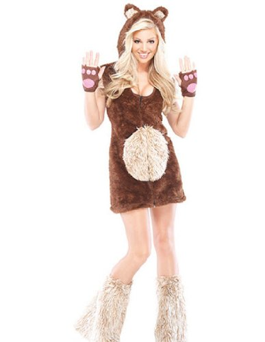[Coquette 196195 Teddy Bear Girl Adult Costume - Brown - Small-Medium] (Sexy Halloween Cost)