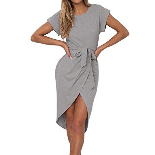 18844f81f2ba PAOLIAN Frauen Sommerkleid Kurzes Minikleid Kurzarm Beiläufig Bodycon  Arbeit Asymmetrisches Partykleid Cocktailkleid Gray 5S5Qzr5. Damen Kleid ...