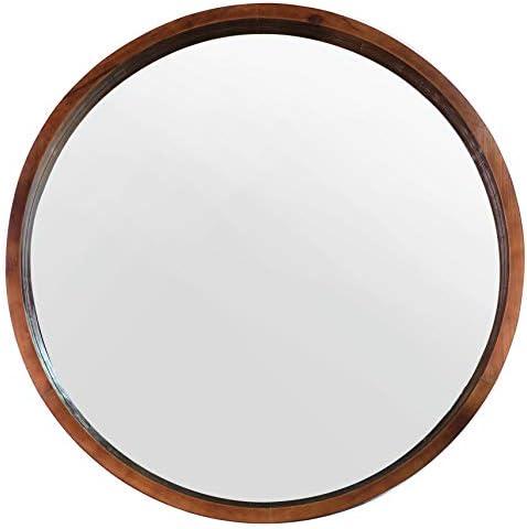 Mirrorize Mina Decorative Modern Wood Frame Round Mirror, 30 Diameter, Walnut Brown