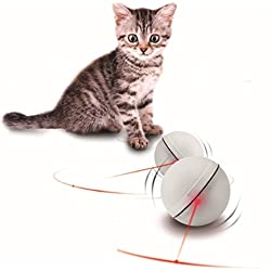OWIKAR Cat Toys Ball Interactive Pet Toy Ball Sparkle Rolling Ball Funny Creative Teasing Cat Toys Plastic Ball Battery Operated Pet Supplies, White