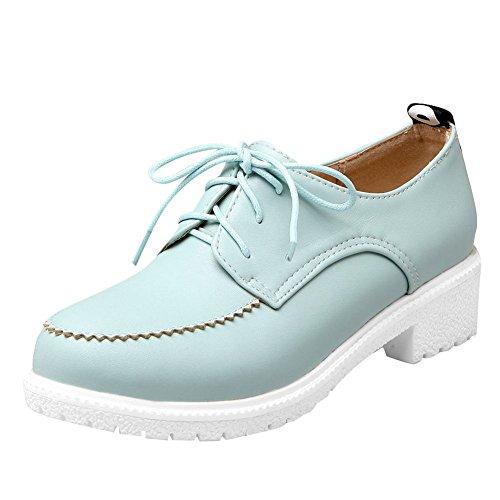 Carolbar Womens Lace Up Mignonne Confort Bas Talon Oxfords Chaussures Bleu