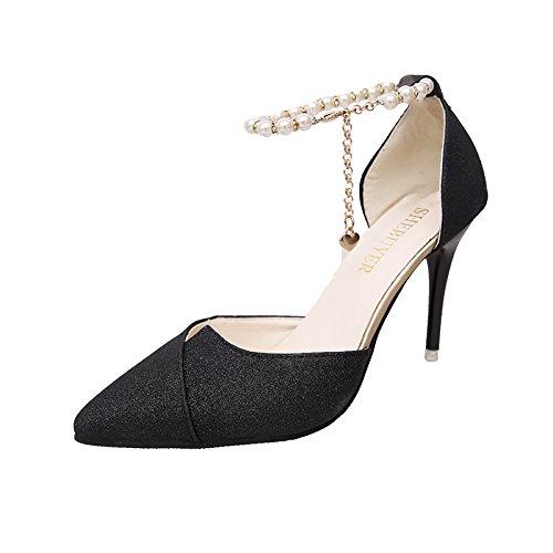 SHOESHAOGE Argent Des High Sandales Perlés Avec Bien Pointe Heeled Simples Femmes Chaussures Femme Très EU38 Chaussures wxRrYwTqA