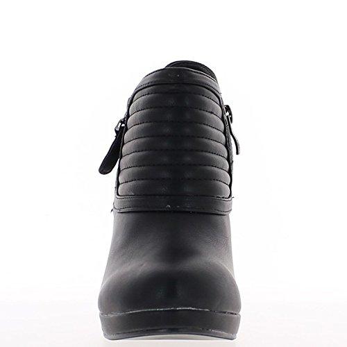 Bottines femme noires à talon de 10cm col rayé et plateforme