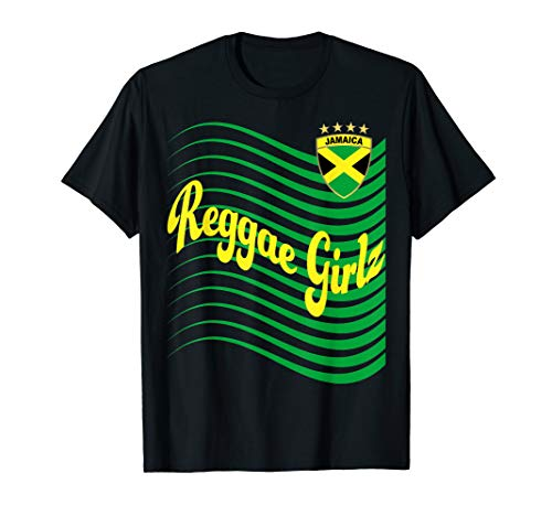 (Jamaica Reggae Girls Soccer Jersey Jamaican Football T-Shirt)