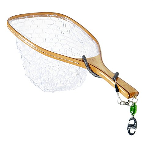 Laminated Wood Handle (SF Burl Wood Fly Fishing Landing Soft Silicone Rubber Mesh Trout Catch and Release Net With GREEN Magnetic Net Release Combo Kit)