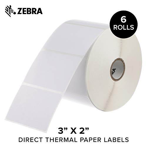 Zebra - 3 x 2 in Direct Thermal Paper Labels, Z-Perform 2000D Permanent Adhesive Shipping Labels, Zebra Desktop Printer Compatible, 1 in Core - 6 Rolls