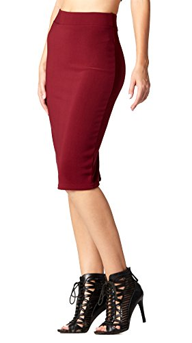 Conceited Premium High Waist Stretch Pencil Skirt - Bodycon - 10 Colors by (X-Large, Burgundy) (Knee Pencil Length Waist Skirt)