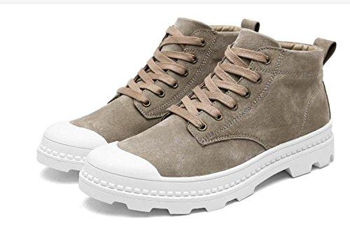 NBWE Chaussures à lacets pour hommes haut-haut Round anti-dérapant bottes élégantes chaussures de plein air Khaki ac887rlS