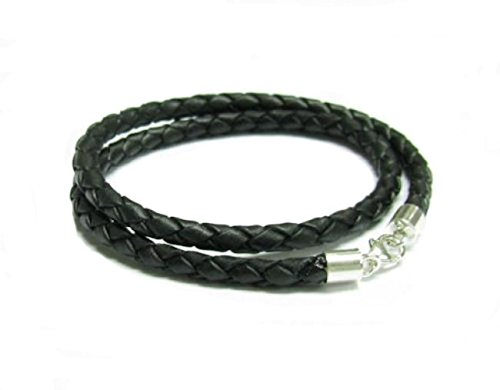 Love Braided Leather Necklace - Dreambell 925 Sterling Silver Black Braided Bolo Round Natural Leather Cord 3mm Choker Necklace 16 Inches For European Bead Charms