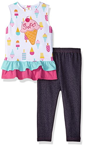 Bon Bebe Baby Girls' 2 Piece Dress and Jegging Set, Sweet Pink Ice Cream Cones, 12 Months -