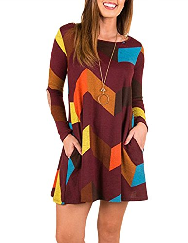 Women's Long Sleeve Tunic Dress Color Block Casual Swing T-Shirt Dresses Orange - Orange The Block In