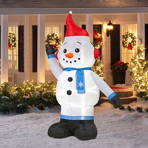 knl store 8 ft tall large lighted inflatable jack frost snowman white - Christmas Blow Up Decorations Outside