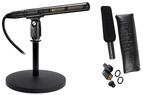 Audio Technica AT875R Short Shotgun Condenser Microphone w/ Line+Mic Stand