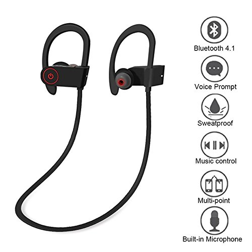 KingTo Bluetooth Headphones Sweatproof Earbuds for Workout 8 Hour Battery Noise Cancelling CVC 6.0 Headsets Heavy Bass Headset with mic by KingTo