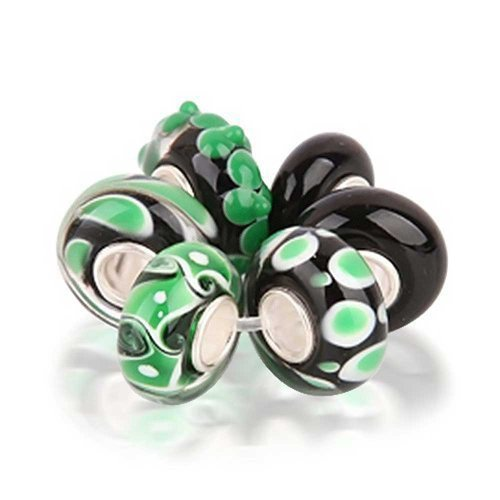 Green White Murano Glass Mix Of 6 Sterling Silver Core Spacer Bead Fits European Charm Bracelet For Women For Teen