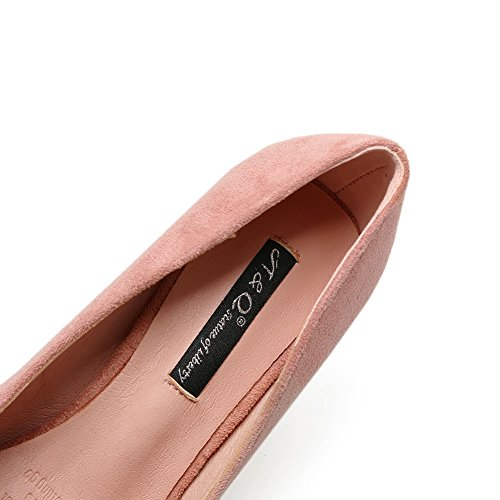 Closure Womens No Pointed Platform Toe AdeeSu Suede Shoes Pumps Pink Unique xSXq5YSwd