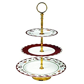 Image of Cake Stands Prouna My Noel 3-Tier Cake Stand - 24K Gold Plated Fine Bone China Ceramic Dessert Serving Dish and Holiday Dinnerware - Handpainted Chinaware and Porcelain Christmas Serveware - Festive Kitchen Décor