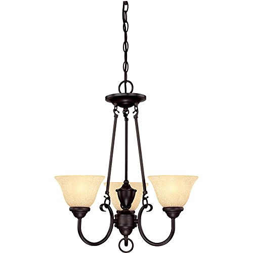 Westinghouse 6222400 Elena Three-Light Interior Chandelier, Dark Bronze Finish with Antique Amber Glass
