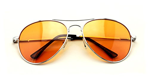 VW Eyewear - Colorful Silver Metal Aviator With Color Lens Sunglasses (Orange - Orange Lenses Glasses
