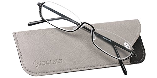 SOOLALA Ladies Rhinestone Designer Alloy Half Frame Stylish Slim Reading Glass, Black, +3.0