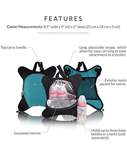 Rio Diaper Backpack with Baby Bottle Cooler and Changing Mat, Shoulder Baby Bag, Food Cooler, Clip to Stroller (Black/Yellow) - Obersee
