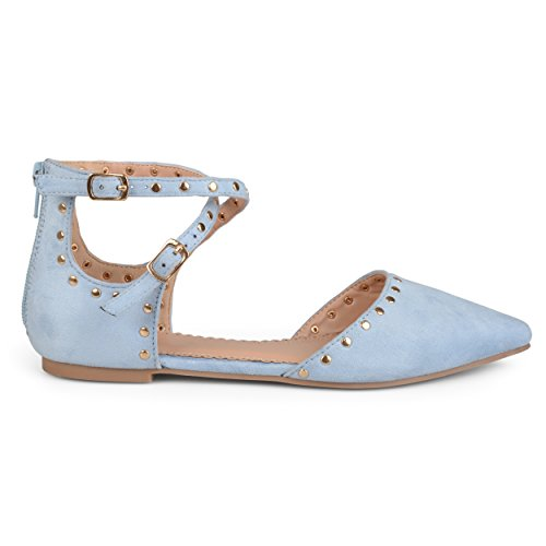 Brinley Co. Womens Double Ankle Strap Faux Suede Studded Flats Blue, 11 Regular US