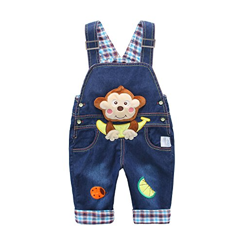 Monkey Pattern (Kids Baby Denim Dungarees Boys Girls Toddler Bib Overall Jeans with Suspenders Monkey with Banana Pattern Blue - 110)