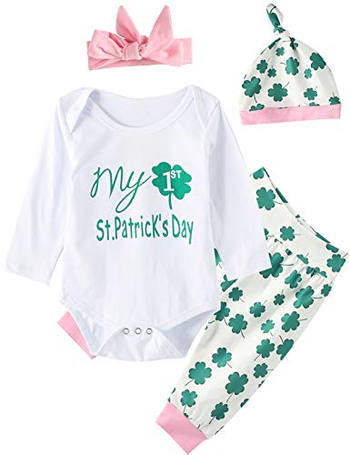 My First St. Patrick's Day Baby Girls Outfit Set Clover Romper (Green, 0-3 Months) -