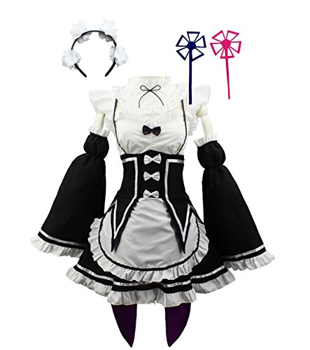 HalloweenCostumeParty Re:Zero Kara Hajimeru Isekai Seikatsu Rem Ram Maid Dress Cosplay Costume(S(5'0)