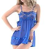 Lmx+3f Women Sexy Lace Plus Size Babydoll Lingerie Nightdress Mesh Perspective Underwear G-String Solid Soft Underwear Blue