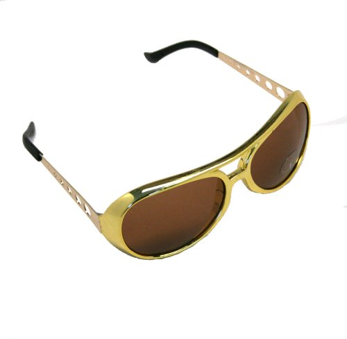 Elvis TCB - Large Elvis King of Rock Rock & Roll TCB Aviator Sunglasses (Gold) (Elvis Quality High Sunglasses)