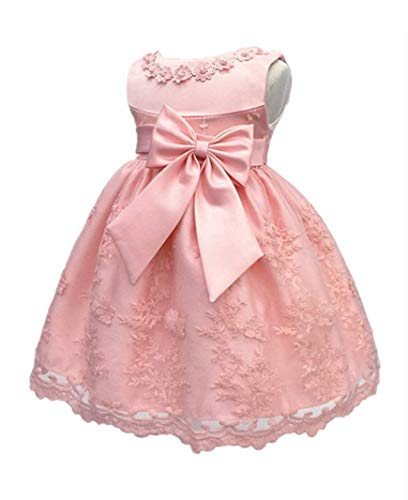 H.X Baby Girl's Newborn Bowknot Gauze Christening Baptism Dress Infant Flower Girls Wedding Dresses 8 Color (6M/6-9 Months, Pink)]()