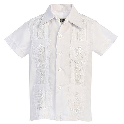 Platoon Kids Boys Guayabera Short Sleeve Cuban Shirt Wedding Beach - Toddlers & Juniors (7, White) (Kids Cuban Shirt)