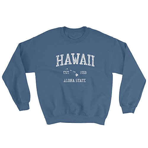 Hawaii HI Sweatshirt Vintage Sports State Design - Indigo Blue