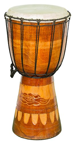 40cm Anfänger Djembe Trommel Bongo Drum Buschtrommel Afrika-Style handgeschnitzt aus Mahagoni Holz Gecko