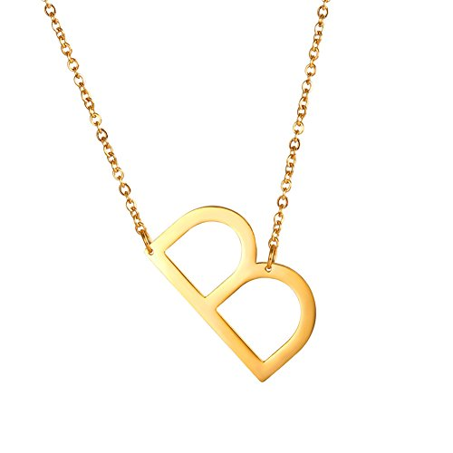 U7 Sideways Large Initial Necklaces Big Letter Script Name Necklaces Stainless Steel 18K Gold Plated Pendant Monogram Necklace for Women Gift (Alphabet B) (Monogram Necklace Jewelry)