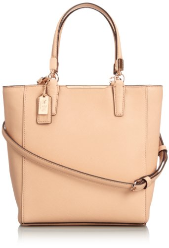 Coach Madison Saffiano North South MINI Tote Crossbody Bag Tan (Madison Handbag Coach)