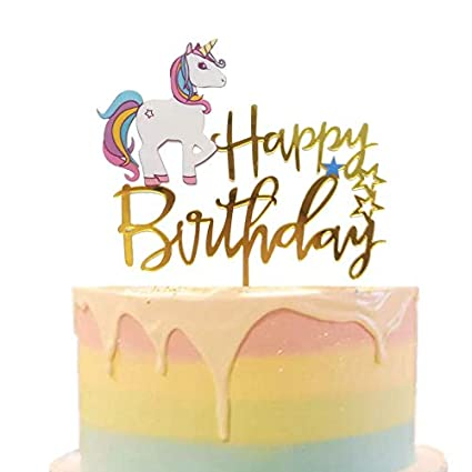 Amazon.com Glitter Unicorn Happy Birthday Cake Topper Gold