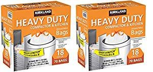 Kirkland Compactor Bags, 18 Gallon, Smart Fit Gripping Drawstring, 70 ct (2 Boxes)