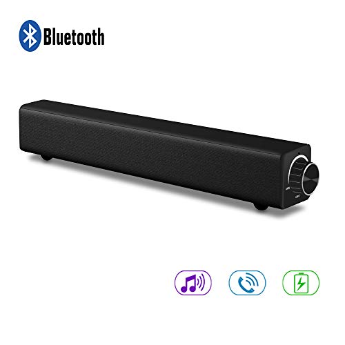 Alitoo Soundbar, Sound Bar Wireless & Wired Audio Bluetooth TV Speaker Surround Stereo HD, Portable Home Theater Speaker Built in Subwoofer Deep Bass for Computer,PC,Tablets,Smartphones,Music(Black)