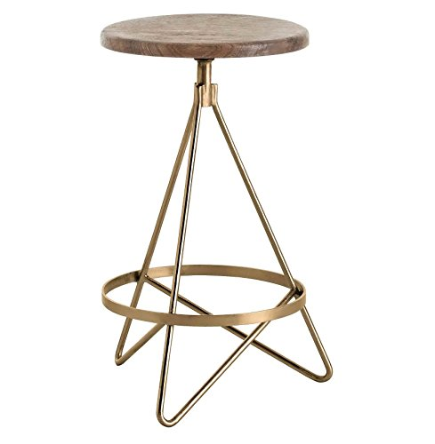 Antique Brass Bar Stool (Windham Industrial Vintage Brass Wood Iron Swivel Counter Stool)